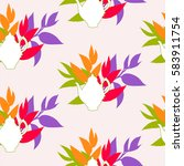 seamless pattern with tea... | Shutterstock .eps vector #583911754