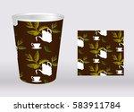 tea paper cup design. cardboard ... | Shutterstock .eps vector #583911784
