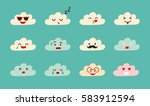 emoji clouds vector. cute smily ... | Shutterstock .eps vector #583912594