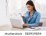 beautiful girl working on... | Shutterstock . vector #583919854