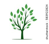 green tree with leafs. vector... | Shutterstock .eps vector #583922824