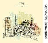 mosque in van  eastern turkey.... | Shutterstock .eps vector #583923334