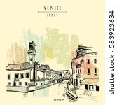 murano island in venice  italy  ... | Shutterstock .eps vector #583923634