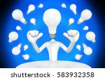light bulb head the original 3d ... | Shutterstock . vector #583932358