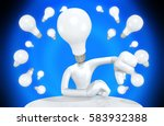 light bulb head the original 3d ... | Shutterstock . vector #583932388