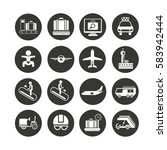 airport icon set in circle... | Shutterstock .eps vector #583942444
