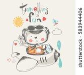 cute baby bear flying on a... | Shutterstock .eps vector #583944406