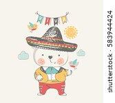 teddy bear in mexican dress... | Shutterstock .eps vector #583944424
