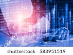 double exposure businessman and ... | Shutterstock . vector #583951519