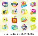happy holi  indian festival of...   Shutterstock .eps vector #583958089