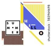 trendy vector summer cards... | Shutterstock .eps vector #583964698