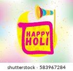 happy holi  festival of colors. ... | Shutterstock .eps vector #583967284
