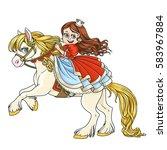 cute princess riding on horse... | Shutterstock .eps vector #583967884