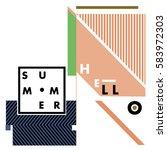 trendy vector summer cards... | Shutterstock .eps vector #583972303