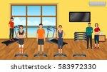 fitness people in sports wear... | Shutterstock .eps vector #583972330