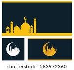 gold mosque islamic wallpaper... | Shutterstock .eps vector #583972360