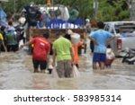 blurred flood crisis background ... | Shutterstock . vector #583985314
