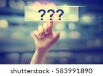 question mark concept with hand ... | Shutterstock . vector #583991890