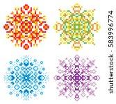 Vector Set Of Pixel Oriental...