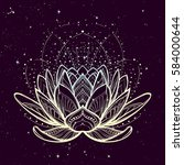 lotus flower. intricate... | Shutterstock .eps vector #584000644