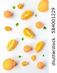 fresh orange fruit on white... | Shutterstock . vector #584001229