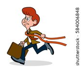 ridiculous caricature the man... | Shutterstock .eps vector #584006848