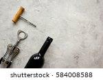 restaurant set with wine bottle ... | Shutterstock . vector #584008588
