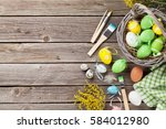 colorful easter eggs and... | Shutterstock . vector #584012980