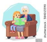 illustration of kid grandson... | Shutterstock .eps vector #584015590