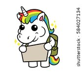 cute unicorn cartoon character... | Shutterstock .eps vector #584027134