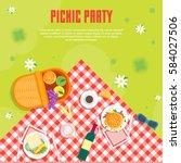 cartoon summer picnic in park... | Shutterstock .eps vector #584027506