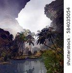 3d illustration of landscape... | Shutterstock . vector #584035054
