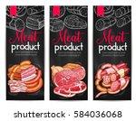 meat delicatessen and butchery... | Shutterstock .eps vector #584036068