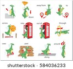 cartoon dragon prepositions of...   Shutterstock .eps vector #584036233