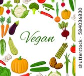 vegetables vector poster of... | Shutterstock .eps vector #584036830