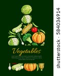 vegetable cutting board vector... | Shutterstock .eps vector #584036914