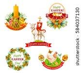 easter holiday label set.... | Shutterstock .eps vector #584037130