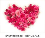Pink Roses Heart Shape.on Whit...