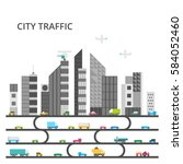 grey city. dirty ecosystem.... | Shutterstock .eps vector #584052460