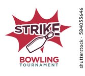 bowling tournament poster or... | Shutterstock .eps vector #584055646