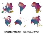 low poly set 6 continents and... | Shutterstock .eps vector #584060590