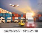 forklift handling container box ... | Shutterstock . vector #584069050