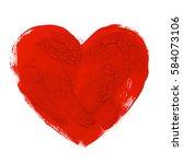 watercolor heart hand drawn... | Shutterstock . vector #584073106