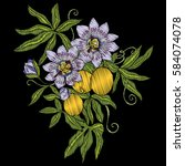 embroidery. embroidered design... | Shutterstock .eps vector #584074078