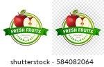 red apple badge. fresh fruits | Shutterstock .eps vector #584082064