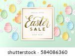 golden easter sale background...   Shutterstock .eps vector #584086360