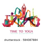 yoga colorful fitness concept.... | Shutterstock .eps vector #584087884