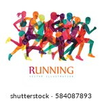 running marathon  people run ... | Shutterstock .eps vector #584087893