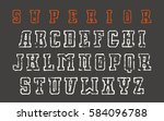 contour serif font in the style ... | Shutterstock .eps vector #584096788