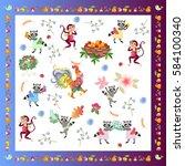 napkin  handkerchief or... | Shutterstock .eps vector #584100340